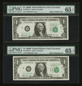 Fr. 1905-D* $1 1969B Federal Reserve Notes. Two Examples. PMG Gem Uncirculated 65 EPQ