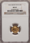Commemorative Gold: , 1922 G$1 Grant With Star MS65 NGC. NGC Census: (292/384). PCGSPopulation (504/798). Mintage: 5,016. Numismedia Wsl. Price ...