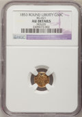 California Fractional Gold, 1853 G50C Liberty Round 50 Cents, BG-421, R.4,--Holed--NGC Details.AU . NGC Census: (0/14). (#104...