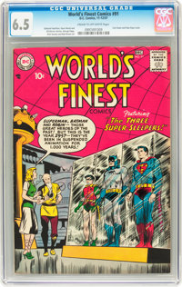 World's Finest Comics #91 (DC, 1957) CGC FN+ 6.5 Cream to off-white pages