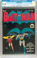Golden Age (1938-1955):Superhero, Batman #3 (DC, 1940) CGC NM 9.4 Off-white to white pages....