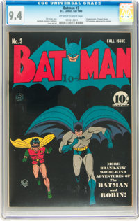 Batman #3 (DC, 1940) CGC NM 9.4 Off-white to white pages