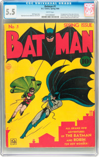 Batman #1 (DC, 1940) CGC FN- 5.5 White pages