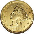 Territorial Gold: , 1861 $2 1/2 Clark, Gruber & Co. Quarter Eagle MS61 NGC. Abeautifully preserved piece, this coin exhibits bright, lightyel...