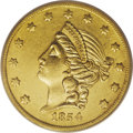 Territorial Gold: , 1854 $20 Kellogg & Co. Twenty Dollar AU55 PCGS. Ex: S.S.Central America. SSCA 7164. Long Arrows, Small Letters obverseand...