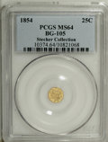 California Fractional Gold: , 1854 25C Liberty Octagonal 25 Cents, BG-105, R.3, MS64 PCGS. Wellstruck with a satiny finish and pleasingly smooth, unmark...