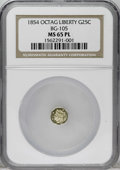 California Fractional Gold: , 1854 25C Liberty Octagonal 25 Cents, BG-105, R.3, MS65 ProoflikeNGC. This pale golden Gem has immense reflectivity and sui...