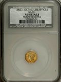 California Fractional Gold: , Undated $1 Liberty Octagonal 1 Dollar, BG-501, Low R.5--MountRemoved--NCS. AU Details. Lightly worn with a yellow-orange b...