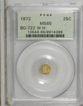 California Fractional Gold: , 1872 25C Washington Octagonal 25 Cents, BG-722, Low R.4, MS65 PCGS.PCGS Population (26/31). NGC Census: (3/1). (#10549)...