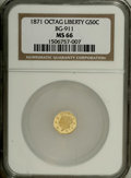 California Fractional Gold: , 1871 50C Liberty Octagonal 50 Cents, BG-911, R.4, MS66 NGC. Thisbright straw-gold piece exhibits modest reflectivity on th...