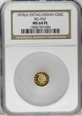 California Fractional Gold: , 1878/6 50C Indian Octagonal 50 Cents, BG-952, High R.5, MS64Prooflike NGC. This distinctly reflective near-Gem has solid d...