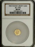 California Fractional Gold: , 1865 50C Liberty Round 50 Cents, BG-1005, Low R.5, MS64 NGC. Choiceand rare, especially in grades this high. The simple de...