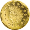 California Fractional Gold: , 1875 $1 Indian Octagonal 1 Dollar, BG-1125, Low R.5, MS64 ProoflikeNGC. Well struck and free of significant marks, this gl...