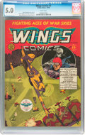 Golden Age (1938-1955):War, Wings Comics #2 (Fiction House, 1940) CGC VG/FN 5.0 White pages....