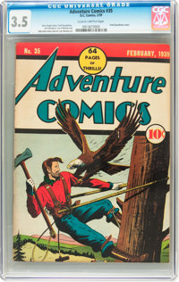 Adventure Comics #35 (DC, 1939) CGC VG- 3.5 Slightly brittle pages
