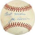Autographs:Baseballs, Early 1960's Joe Gordon Single Signed Baseball....