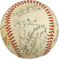Autographs:Baseballs, 1949 Independence (MO) Yankees Team Signed Baseball with Mickey Mantle....