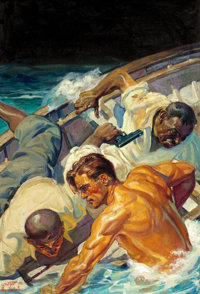 WALTER MARTIN BAUMHOFER (American, 1904-1987) Doc Savage cover illustration, February 1935 Oil on ca