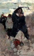 Mainstream Illustration, FRANK EARLE SCHOONOVER (American, 1877-1972). Sketch for TheFuneral Procession, 1905. Oil on board. 12 x 7.5 in.. Signe...
