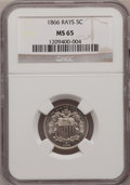 Shield Nickels, 1866 5C Rays MS65 NGC....