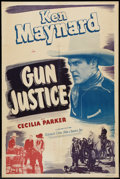 "Movie Posters:Western, Gun Justice (Film Classics, R-1948). One Sheet (27"" X 41""). Western.. ..."
