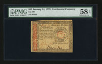 Continental Currency January 14, 1779 $65 PMG Choice About Unc 58 EPQ