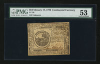 Continental Currency February 17, 1776 $6 PMG About Uncirculated 53