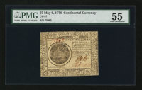Continental Currency May 9, 1776 $7 PMG About Uncirculated 55 EPQ