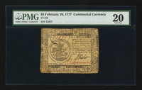 Continental Currency February 26, 1777 $5 PMG Very Fine 20
