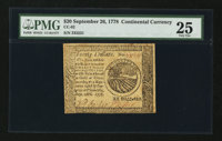 Continental Currency September 26, 1778 $20 PMG Very Fine 25