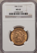 Liberty Eagles: , 1881-S $10 MS63 NGC. NGC Census: (22/0). PCGS Population (31/0).Mintage: 970,000. Numismedia Wsl. Price for problem free N...