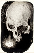 Pulp, Pulp-like, Digests, and Paperback Art, VIRGIL FINLAY (American, 1914-1971). Skull, Science FictionDigest illustration. Mixed media on board. 9.5 x 6.5 in.. Si...