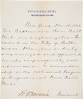 Autographs:Others, 1889 Baltimore Orioles (Future New York Yankees) Application toJoin National League....