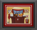 Basketball Collectibles:Others, Bobby Knight Signed Warner Brothers Print and Indiana Unsigned Lithograph....