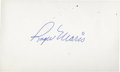 Baseball Collectibles:Others, Roger Maris Signed Index Card....
