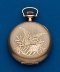 Timepieces:Pocket (post 1900), Swiss 12 Size Hunters Case, Eagle Motif. ...
