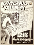 Mainstream Illustration, GARY GRIMSHAW (American, 20th Century). Pinball Alley, Ann ArborMichigan, final artwork. Ink on paper. 21 x 16 in.. Sig...(Total: 2 Items)