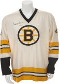 Hockey Collectibles:Uniforms, 1974-75 Bobby Orr Game Worn and Signed Boston Bruins Jersey....