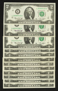 Series 1976 $2 FRNs. Complete District Set Excluding Replacement Notes. Very Choice Crisp Uncirculated to Gem Crisp Unci...
