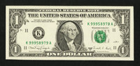 Fr. 1916-K $1 1988A Federal Reserve Note. Choice Crisp Uncirculated