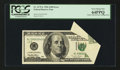 Error Notes:Foldovers, Fr. 2175-L $100 1996 Federal Reserve Note. PCGS Very Choice New64PPQ.. ...