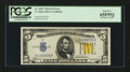 Error Notes:Ink Smears, Fr. 2307 $5 1934A North Africa Silver Certificate. PCGS Gem New65PPQ.. ...