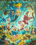 Original Comic Art:Paintings, Carl Barks Makings of a Fish Story (No One Will Ever BelieveThis) Oil Painting Original Art (1988)....