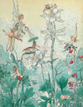 Mainstream Illustration, HAROLD GAZE (American, 1884-1963). Fairies at Play. Mixedmedia on paper. 12.5 x 10 in.. Signed lower right. ...