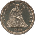 Proof Seated Quarters: , 1886 25C PR63 PCGS. PCGS Population (59/127). NGC Census: (49/142).Mintage: 886. Numismedia Wsl. Price for problem free NG...