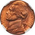 Errors, 1978 5C Jefferson Nickel--Struck on a Cent Planchet--MS65 Red NGC. 3.06 gm. Ex: New England Collection.. From The New Eng...