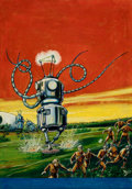 Pulp, Pulp-like, Digests, and Paperback Art, FRANK R. PAUL (American, 1884-1963). The Robot Aliens, WonderStories pulp cover, February 1935. Oil on canvas. 22.5 x 1...