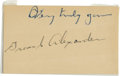 Autographs:Index Cards, Grover Cleveland Alexander Signed Index Card Laminated. One of thetruly great players of the early era of baseball, Grover...