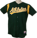 Baseball Collectibles:Uniforms, 2003 Mike Neu Batting Practice Worn Jersey. Relief pitcher Mike Neu spent the 2003 season as a member of the Oakland Athlet...