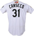 Baseball Collectibles:Uniforms, 2001 Jose Canseco Game Worn Flag Jersey. 2001 was the final playing year of the superb slugger Jose Canseco, as he ended hi...